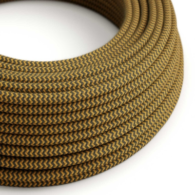 RZ27 ZigZag Golden Honey & Anthracite Round Cotton Electrical Fabric Cloth Cord Cable
