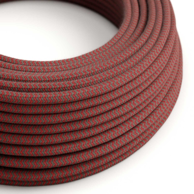 RZ28 ZigZag Fire Red & Grey Round Cotton Electrical Fabric Cloth Cord Cable