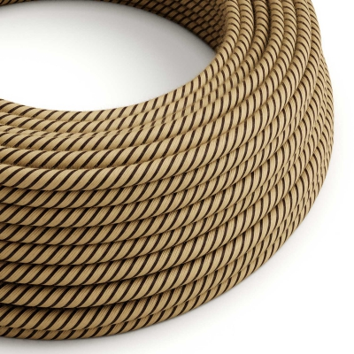 ERD21 Tobacco Vertigo Round Jute & Cotton Electrical Fabric Cloth Cord Cable