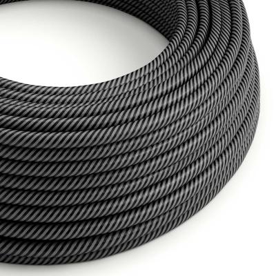 ERM38 Graphite & Black Vertigo HD Thin Stripes Round Electrical Fabric Cloth Cord Cable