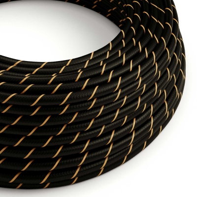 ERM42 Black & Gold Vertigo HD Round Electrical Fabric Cloth Cord Cable
