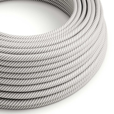 ERM46 White & Aluminium Vertigo HD Round Electrical Fabric Cloth Cord Cable