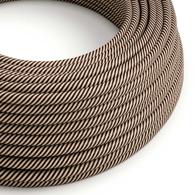 ERM51 Sand & Dark Brown Vertigo HD Round Electrical Fabric Cloth Cord Cable