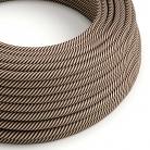 ERM51 Sand & Dark Brown Vertigo HD Round Electrical Fabric Cloth Cord Cable