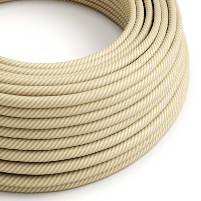 ERM53 Cream & Nut Vertigo HD Thin Stripes Round Electrical Fabric Cloth Cord Cable