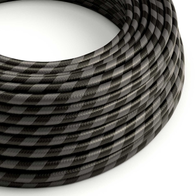 ERM54 Graphite & Black Vertigo HD Wide Stripes Round Electrical Fabric Cloth Cord Cable