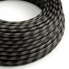 ERM54 Graphite & Black Vertigo HD Wide Stripes Round Electrical Fabric Cloth Cord Cable