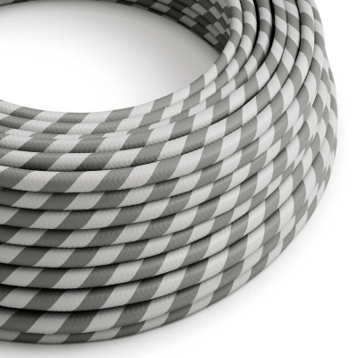 ERM55 Silver & Grey Vertigo HD Round Electrical Fabric Cloth Cord Cable