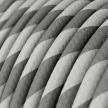 ERM55 Silver & Grey Vertigo HD Round Electrical Fabric Cloth Cord Cable