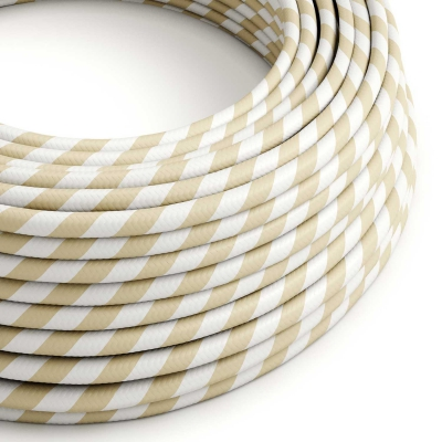 ERM56 Cream & Nut Vertigo HD Wide Stripes Round Electrical Fabric Cloth Cord Cable