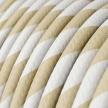 ERM56 Cream & Nut Vertigo HD Wide Stripes Round Electrical Fabric Cloth Cord Cable