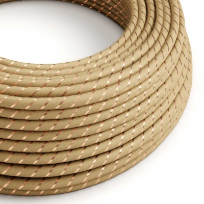 ERR04 Copper Thread Vertigo Jute Round Electrical Fabric Cloth Cord Cable