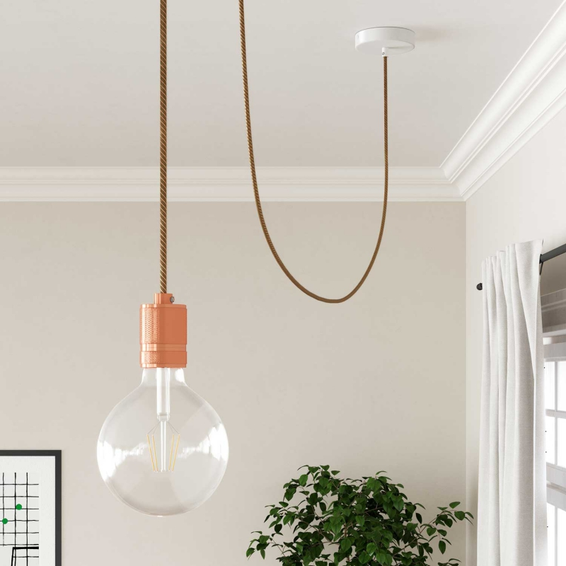 ERR04 Copper Thread Vertigo Jute Round Electrical Fabric Cloth Cord Cable