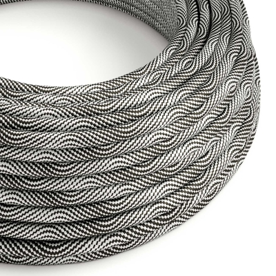 ERM64 Black and Silver Vertigo HD Optical Round Electrical Fabric Cloth Cord Cable