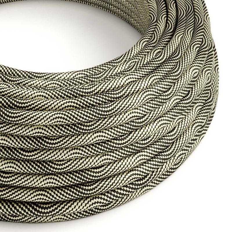 ERM65 Black and Gold Vertigo HD Optical Round Electrical Fabric Cloth Cord Cable