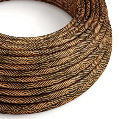 ERM66 Black and Copper Vertigo HD Optical Round Electrical Fabric Cloth Cord Cable