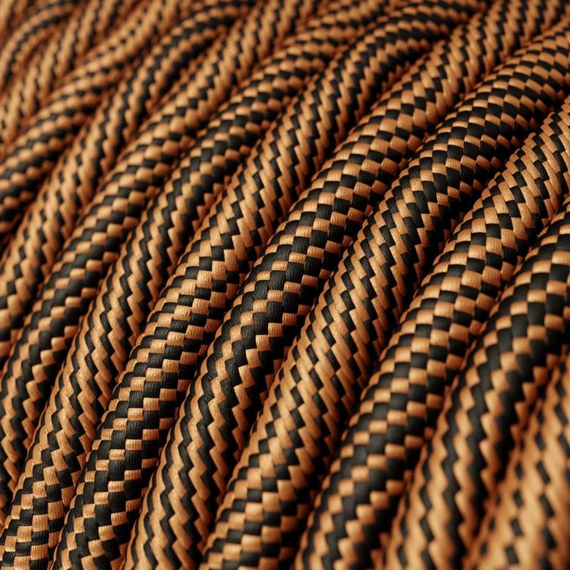 ERM66 Black and Copper Vertigo HD Optical Round Electrical Fabric Cloth Cord Cable