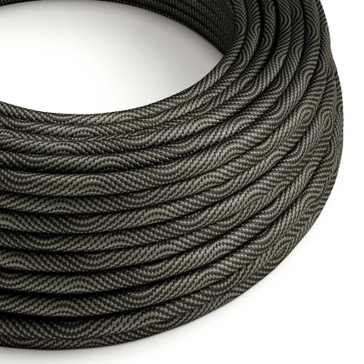 ERM67 Black and Grey Vertigo HD Optical Round Electrical Fabric Cloth Cord Cable
