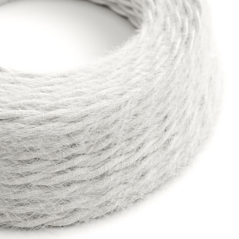 TP01 Plain White Marlene twisted lighting cable covered in hairy-effect fabric