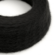 TP04 Plain Black Marlene twisted lighting cable covered in hairy-effect fabric