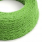 TP06 Plain Green Marlene twisted lighting cable covered in hairy-effect fabric