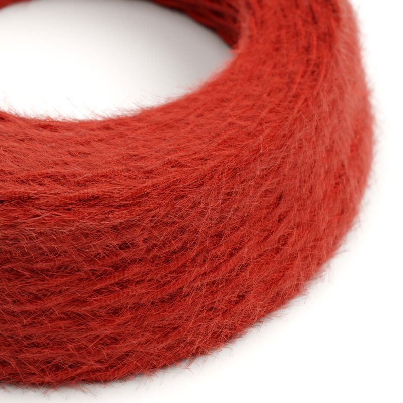 TP09 Plain Red Marlene twisted lighting cable covered in hairy-effect fabric