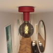 Fermaluce Leather, leather covered wooden ceiling or wall light. Made in Italy