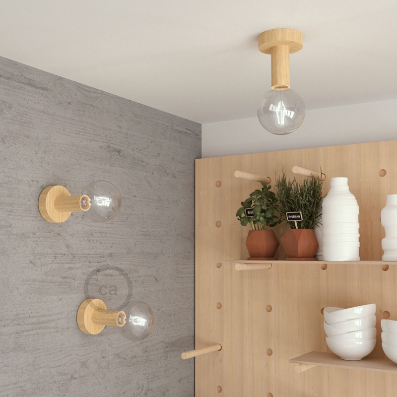 Fermaluce Wood M, the painted wood flush light for your wall or ceiling