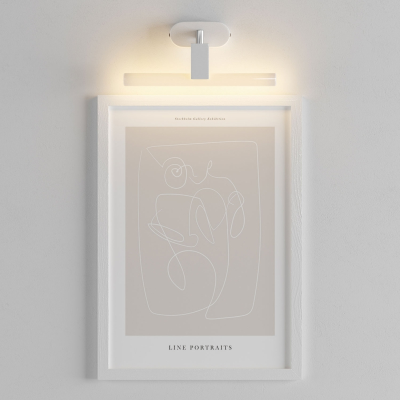 Fermaluce S14 System, adjustable flush wall lamp with S14d fitting and oval wooden ceiling rose