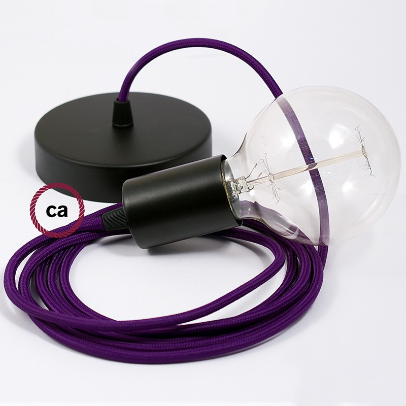 Single Pendant, suspended lamp with Violet Rayon textile cable RM14