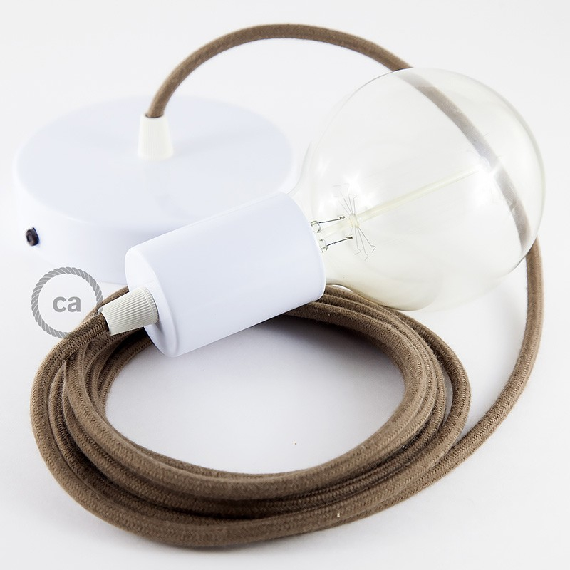 Single Pendant, suspended lamp with Brown Cotton textile cable RC13
