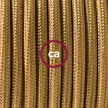 Single Pendant, suspended lamp with Gold Rayon textile cable RM05