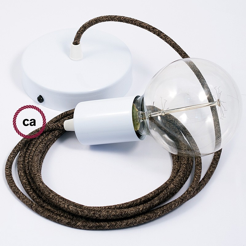 Single Pendant, suspended lamp with Brown Natural Linen textile cable RN04