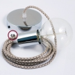 Single Pendant, suspended lamp with Lozenge Bark textile cable RD63