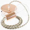Single Pendant, suspended lamp with Stripes Bark textile cable RD53