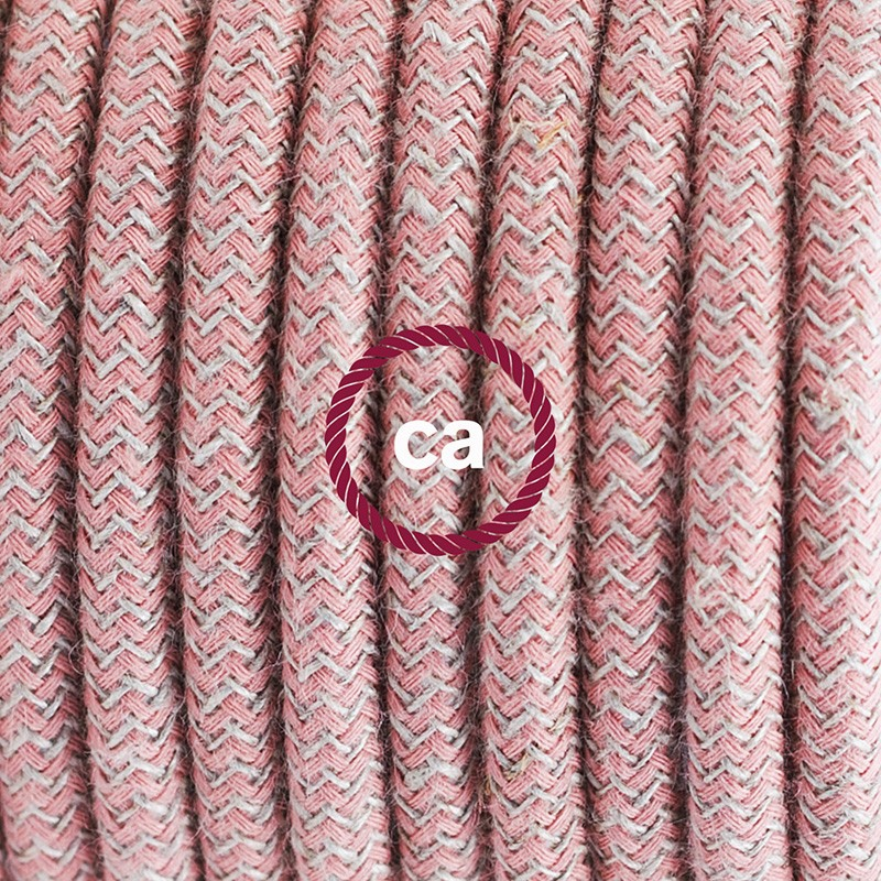 Single Pendant, suspended lamp with ZigZag Ancient Pink textile cable RD71