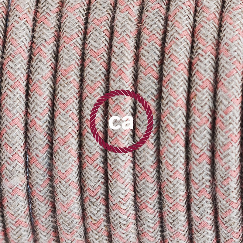 Single Pendant, suspended lamp with Lozenge Ancient Pink textile cable RD61