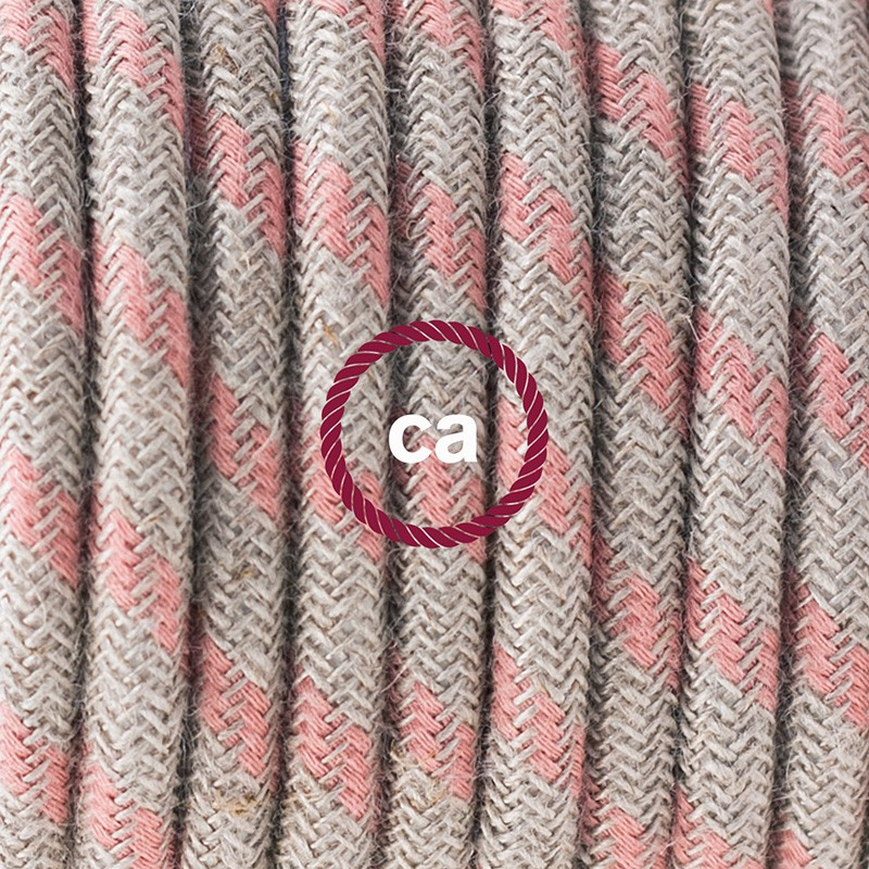 Single Pendant, suspended lamp with Stripes Ancient Pink textile cable RD51