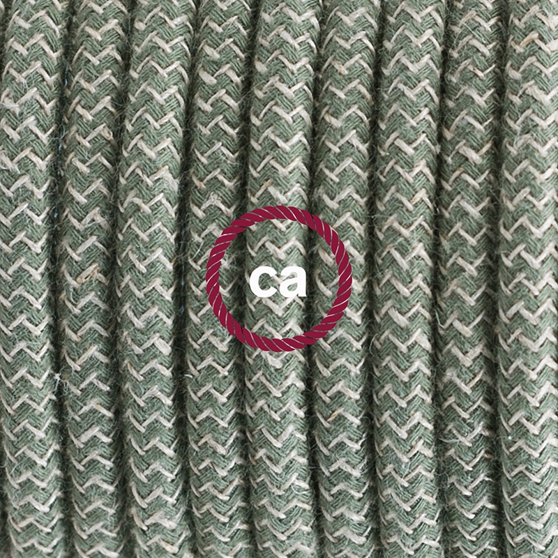 Single Pendant, suspended lamp with ZigZag Green Thyme textile cable RD72