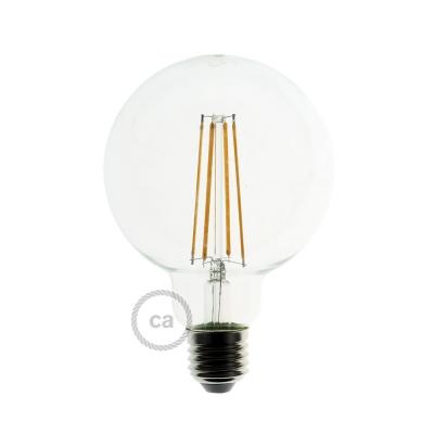 LED Transparent Light Bulb - Globe G95 Long Filament - 7.5W E27 Decorative Vintage Dimmable 2200K