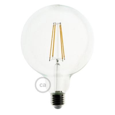 LED Transparent Light Bulb - Globe G125 Long Filament - 7.5W E27 Decorative Vintage Dimmable 2200K
