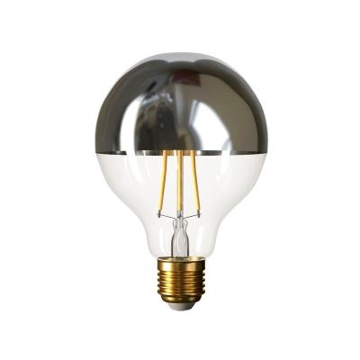 Silver half sphere Globe G95 LED light bulb 7W E27 2700K Dimmable