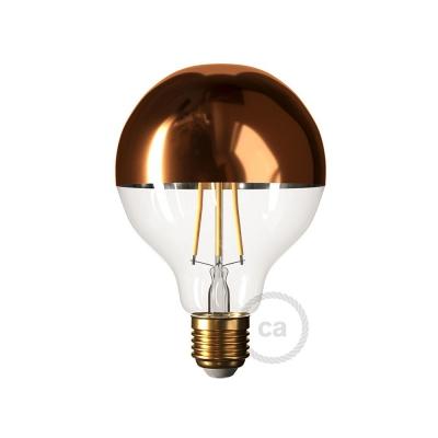 Copper half sphere Globe G95 LED light bulb 7W E27 2700K Dimmable