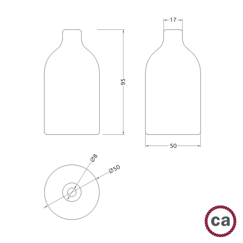 Wooden lamp holder E27 Kit with concealed cable clamp