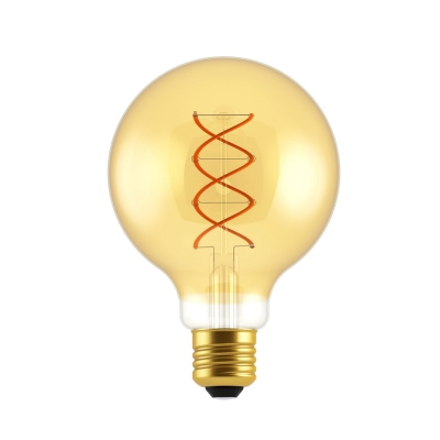 LED Globe G95 Golden with double curved spiral filament 5W E27 Dimmable 2000K bulb