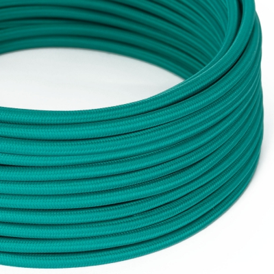 RM71 Turquoise Round Rayon Electrical Fabric Cloth Cord Cable