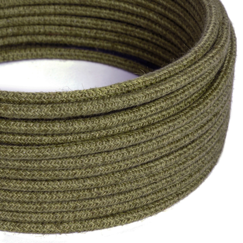 RN26 Bark Brown Jute Round Electrical Fabric Cloth Cord Cable