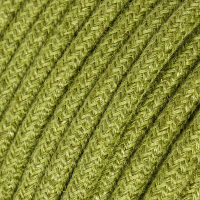 RN23 Hay Green Jute Round Electrical Fabric Cloth Cord Cable