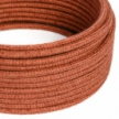 RN27 Orange Clay Jute Round Electrical Fabric Cloth Cord Cable