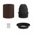 Semi-threaded metal E27 lamp holder kit with concealed cable clamp